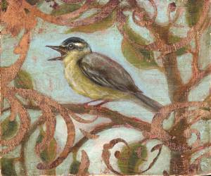 acrylic paints and copper leaf capture the goldfinch (Eva-Lena Rehnmark original)